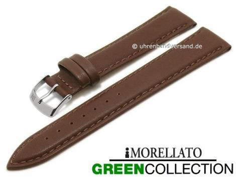 Watch strap -Agrifoglio- 20mm dark brown synthetic smooth stitched GREEN COLLECTION by MORELLATO (width of buckle 18 mm) - Bild vergrößern