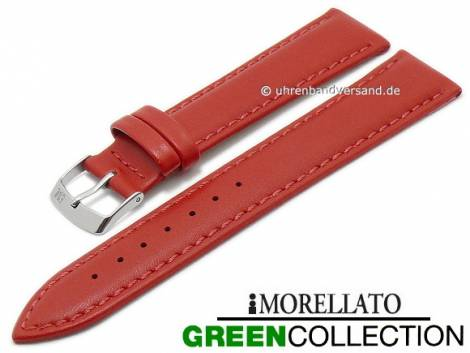 Watch strap -Agrifoglio- 20mm red synthetic smooth stitched GREEN COLLECTION by MORELLATO (width of buckle 18 mm) - Bild vergrößern