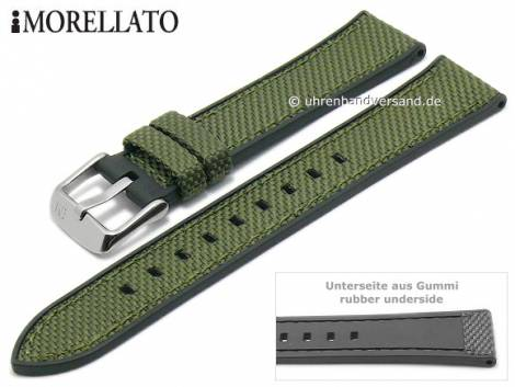 Watch strap -Net Ball- 22mm olive green textile/rubber black strap sides by MORELLATO (width of buckle 20 mm) - Bild vergrößern