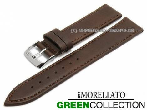 Watch strap -Gelso- 16mm dark brown synthetic smooth stitched GREEN COLLECTION by MORELLATO (width of buckle 14 mm) - Bild vergrößern