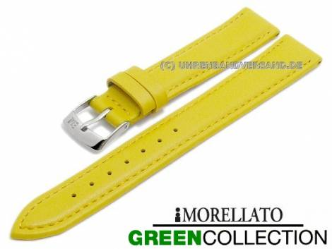 Watch strap -Gelso- 14mm yellow synthetic smooth stitched GREEN COLLECTION by MORELLATO (width of buckle 12 mm) - Bild vergrößern
