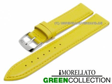 Watch strap -Gelso- 16mm yellow synthetic smooth stitched GREEN COLLECTION by MORELLATO (width of buckle 14 mm) - Bild vergrößern