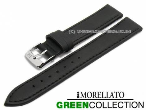 Watch strap -Gelso- 14mm black synthetic smooth stitched GREEN COLLECTION by MORELLATO (width of buckle 12 mm) - Bild vergrößern