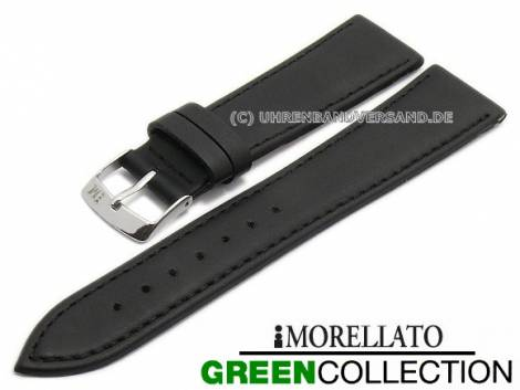 Watch strap -Gelso- 16mm black synthetic smooth stitched GREEN COLLECTION by MORELLATO (width of buckle 14 mm) - Bild vergrößern