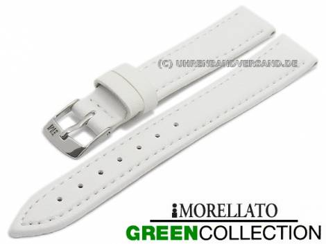 Watch strap -Gelso- 12mm white synthetic smooth stitched GREEN COLLECTION by MORELLATO (width of buckle 10 mm) - Bild vergrößern