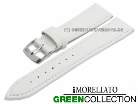 Watch strap -Gelso- 16mm white synthetic smooth stitched GREEN COLLECTION by MORELLATO (width of buckle 14 mm) - Bild vergrößern