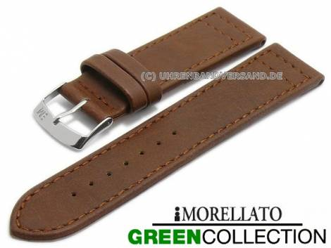 Watch strap -Ginepro- 20mm brown synthetic matt stitched GREEN COLLECTION by MORELLATO (width of buckle 18 mm) - Bild vergrößern