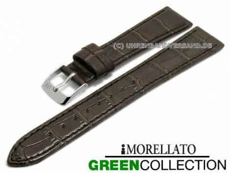Watch strap -Salice- 14mm dark brown synthetic alligator grain GREEN COLLECTION by MORELLATO (width of buckle 10 mm) - Bild vergrößern