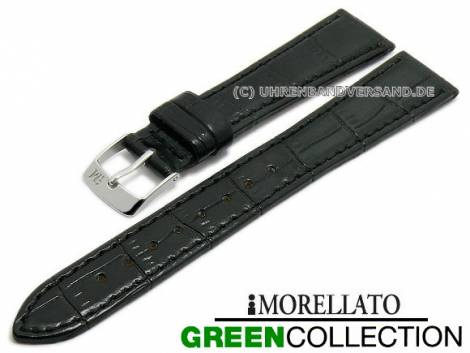 Watch strap -Salice- 14mm black synthetic alligator grain GREEN COLLECTION by MORELLATO (width of buckle 10 mm) - Bild vergrößern