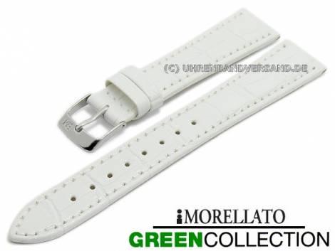 Watch strap -Salice- 14mm white synthetic alligator grain GREEN COLLECTION by MORELLATO (width of buckle 10 mm) - Bild vergrößern
