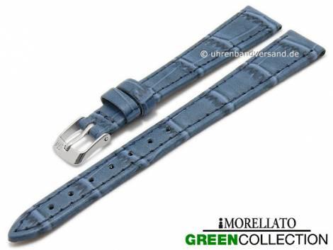 Watch strap -Salice- 14mm blue synthetic alligator grain GREEN COLLECTION by MORELLATO (width of buckle 10 mm) - Bild vergrößern