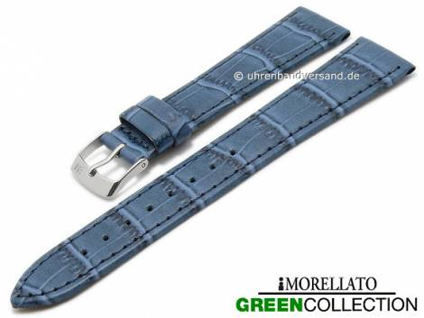 Watch strap -Salice- 16mm blue synthetic alligator grain GREEN COLLECTION by MORELLATO (width of buckle 12 mm) - Bild vergrößern