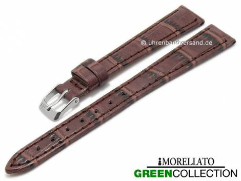 Watch strap -Salice- 12mm brown synthetic alligator grain GREEN COLLECTION by MORELLATO (width of buckle 10 mm) - Bild vergrößern