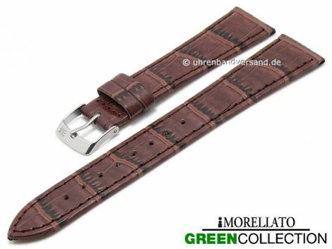 Watch strap -Salice- 16mm brown synthetic alligator grain GREEN COLLECTION by MORELLATO (width of buckle 12 mm) - Bild vergrößern