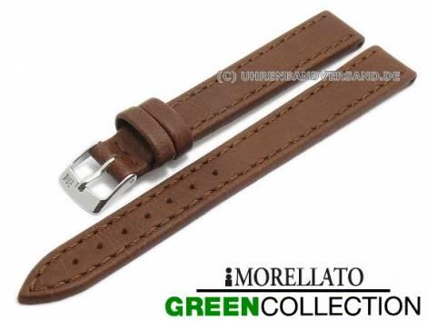 Watch strap XL -Abete- 14mm brown synthetic stitched GREEN COLLECTION by MORELLATO (width of buckle 12 mm) - Bild vergrößern