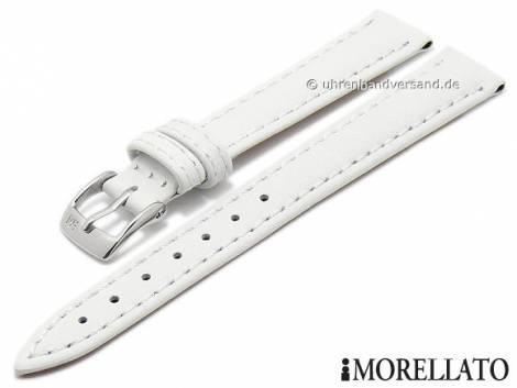 Watch strap -Regatta- 14mm white leather matt stitched by MORELLATO (width of buckle 12 mm) - Bild vergrößern
