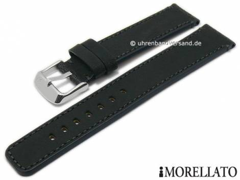 Watch strap -Cellini- 24mm black leather slightly vintage look stitched by MORELLATO (width of buckle 22 mm) - Bild vergrößern