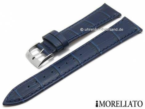 Watch strap -Bolle- 22mm dark blue leather alligator grain easy change spring bars by MORELLATO (width of buckle 20 mm) - Bild vergrößern