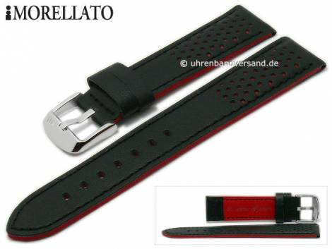 Watch strap -Rally- 18mm black leather racing look stitched by MORELLATO (width of buckle 16 mm) - Bild vergrößern