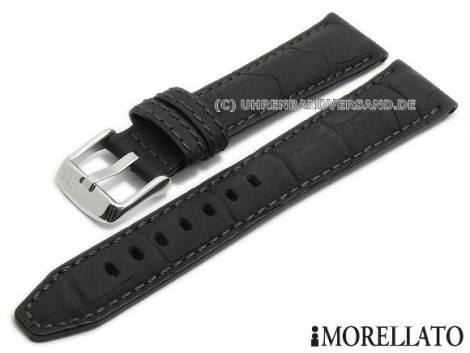Watch strap -Soccer- 22mm black leather alligator grain stitched by MORELLATO (width of buckle 18 mm) - Bild vergrößern