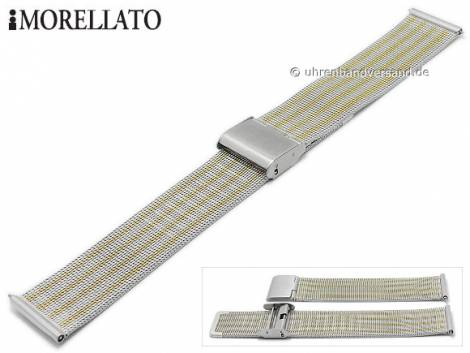 Watch strap -Estia- 16mm silver/golden mesh fine structure with easy change spring bars by MORELLATO - Bild vergrößern