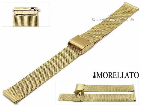 Watch strap -Estia- 12mm EASY-CLICK golden mesh fine structure slide clasp by MORELLATO - Bild vergrößern