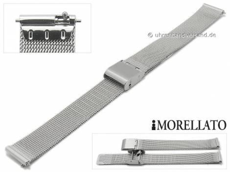 Watch strap -Estia- 16mm EASY-CLICK stainless steel mesh fine structure slide clasp by MORELLATO - Bild vergrößern