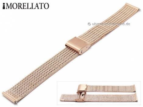 Watch strap -Shiva- 16mm rosé golden stainless steel mesh fine structure with easy change spring bars by MORELLATO - Bild vergrößern
