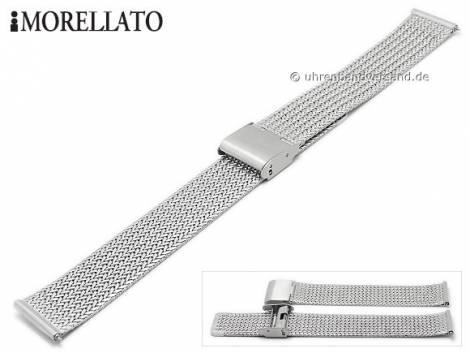 Watch strap -Shiva- 14mm silver stainless steel mesh fine structure with easy change spring bars by MORELLATO - Bild vergrößern