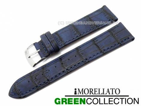 Watch strap 22mm dark blue -Larice- alligator grain stitched by MORELLATO (width of buckle 20 mm) - Bild vergrößern