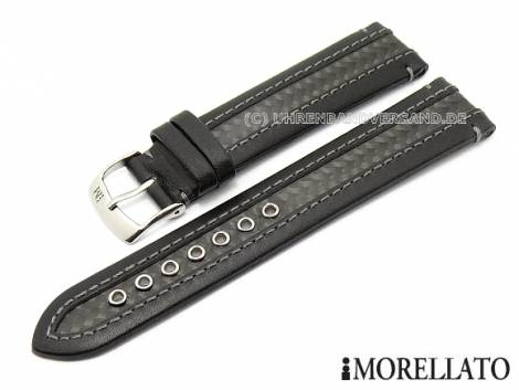 Watch band -Karate- 24mm black leather/carbon waterproof by MORELLATO (width of buckle 22 mm) - Bild vergrößern