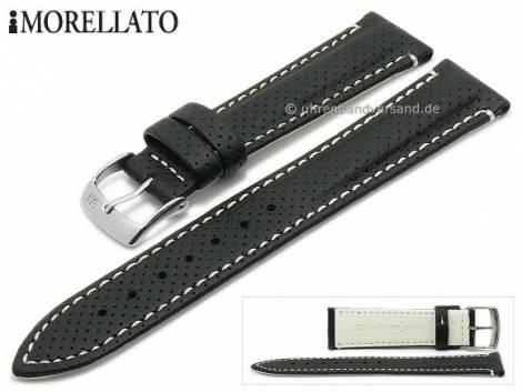 Watch strap -Race- 20mm black Lorica perforated light stitching by MORELLATO (width of buckle 18 mm) - Bild vergrößern