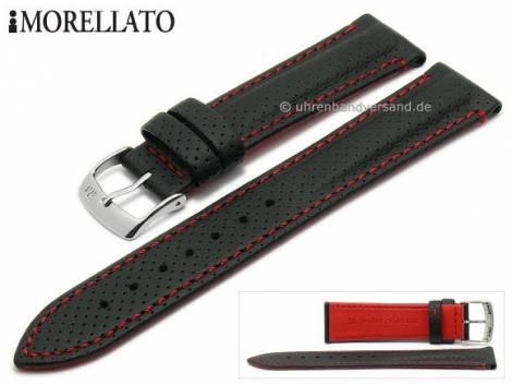 Watch strap -Race- 20mm black Lorica perforated red stitching by MORELLATO (width of buckle 18 mm) - Bild vergrößern