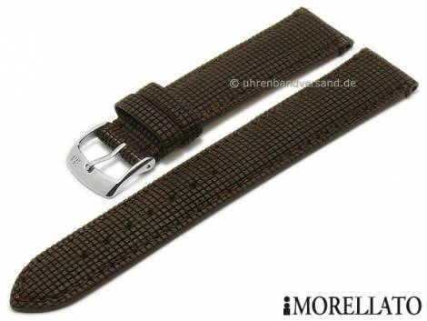 Wood/leather watch strap -Marinetti- 20mm dark brown checked pattern matt by MORELLATO (width of buckle 18 mm) - Bild vergrößern