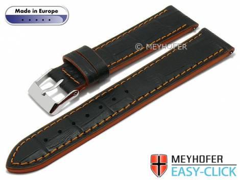Meyhofer EASY-CLICK watch strap -Cascadia- 20mm black leather alligator grain orange stitching (width of buckle 18 mm) - Bild vergrößern
