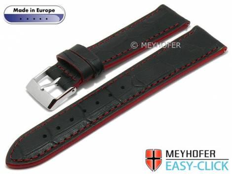 Meyhofer EASY-CLICK watch strap -Cascadia- 24mm black leather alligator grain red stitching (width of buckle 22 mm) - Bild vergrößern