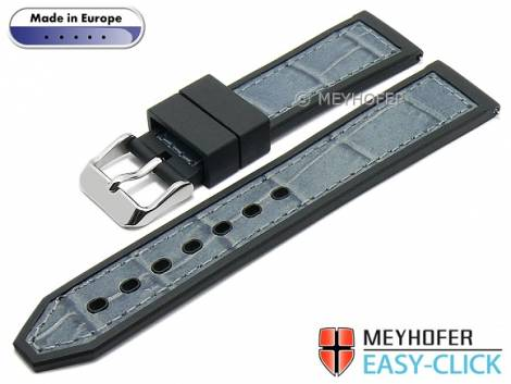 Meyhofer EASY-CLICK watch strap -Ensley- 22mm black/grey leather/caoutchouc alligator grain (width of buckle 20 mm) - Bild vergrößern