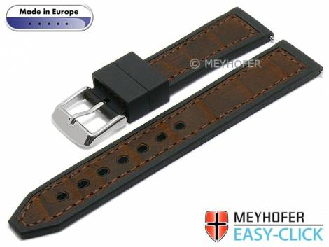 Meyhofer EASY-CLICK watch strap -Ensley- 20mm black/brown leather/caoutchouc alligator grain (width of buckle 18 mm) - Bild vergrößern