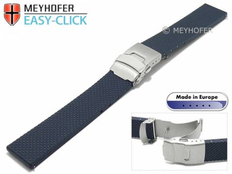 Meyhofer EASY-CLICK watch strap -Casoria- 20mm dark blue caoutchouc patterned with clasp (width of clasp 18 mm) - Bild vergrößern