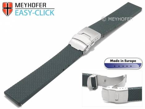 Meyhofer EASY-CLICK watch strap -Casoria- 22mm grey caoutchouc patterned with clasp (width of clasp 20 mm) - Bild vergrößern