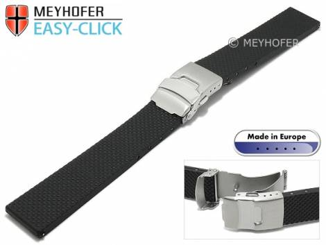Meyhofer EASY-CLICK watch strap -Casoria- 20mm black caoutchouc patterned with clasp (width of clasp 18 mm) - Bild vergrößern
