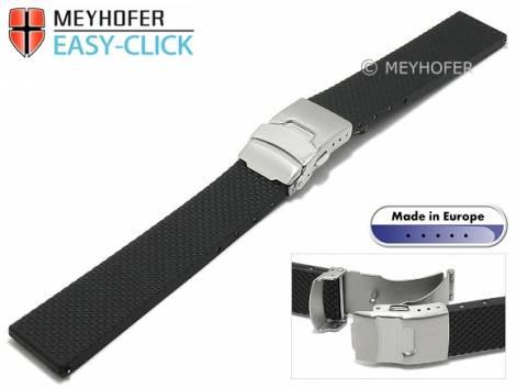 Meyhofer EASY-CLICK watch strap -Casoria- 24mm black caoutchouc patterned with clasp (width of clasp 20 mm) - Bild vergrößern