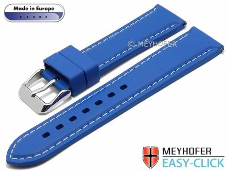 Meyhofer EASY-CLICK watch strap -Tanaro- 20mm royal blue caoutchouc light contrast stitching (width of clasp 18 mm) - Bild vergrößern