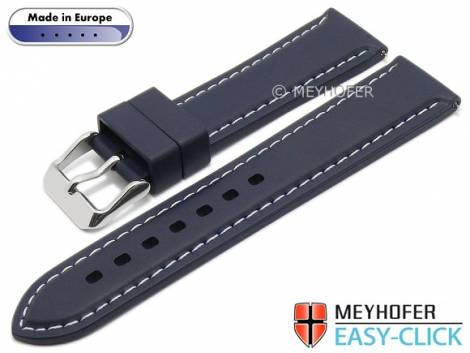 Meyhofer EASY-CLICK watch strap -Tanaro- 20mm dark blue caoutchouc light contrast stitching (width of clasp 18 mm) - Bild vergrößern