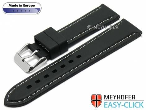 Meyhofer EASY-CLICK watch strap -Tanaro- 20mm black caoutchouc smooth light contrast stitching (width of clasp 18 mm) - Bild vergrößern