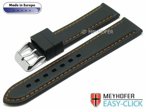 Meyhofer EASY-CLICK watch strap -Tanaro- 20mm black caoutchouc smooth orange contrast stitching (width of buckle 18 mm) - Bild vergrößern