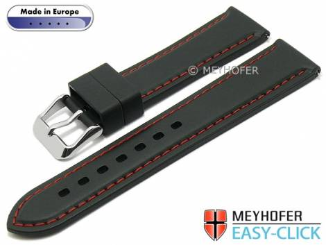 Meyhofer EASY-CLICK watch strap -Tanaro- 20mm black caoutchouc smooth red contrast stitching (width of buckle 18 mm) - Bild vergrößern