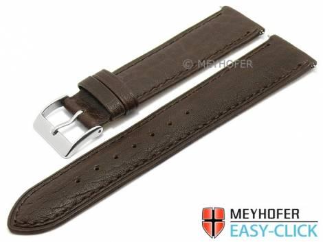 Meyhofer EASY-CLICK watch strap -Acadia- 20mm dark brown leather lightly grain matt stitched (width of buckle 18 mm) - Bild vergrößern