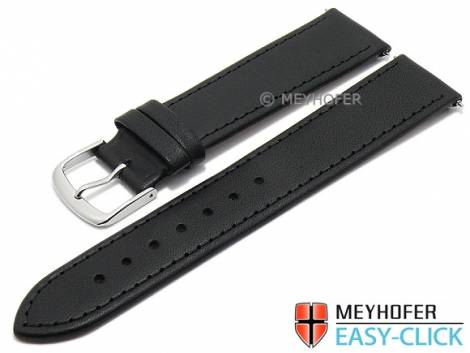Meyhofer EASY-CLICK watch strap -Forillon- 16mm black leather smooth matt stitched (width of buckle 14 mm) - Bild vergrößern