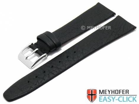 Meyhofer EASY-CLICK watch strap -Oroville- 18mm black leather grained matt (width of buckle 16 mm) - Bild vergrößern